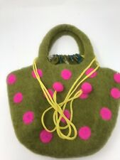 Lime Green Hot Pink Pinwheels with Green and Pink Polka Dot Flannel Drawstring Travel Jewelry Pouch  Satchel