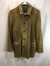 VTG 50's 60's Unbranded Leather Suede Coat Jacket Mens Brown Button Front Vented