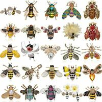 Cute Crystal Bees Insects Enamel Brooch Pin Jewelry Women Men jewelry Party Gift