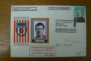 1973 SUNDERLAND FDC F.A. CUP WINNERS SIGNED BY COACH , BILLY ELLIOTT