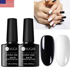 2 Bottles UR SUGAR Black White Gel Nail Polish Soak Off UV LED Gel Varnish 7.5ml