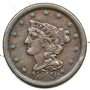 1849 Braided Hair Half Cent Coin 1/2c