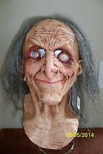 ADULT HAGATHA OLD SCARY EYES WITCH LATEX FULL MASK WITH HAIR COSTUME TB26458