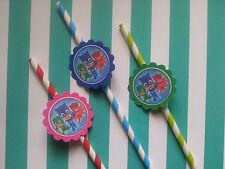 24 PJ Masks straws party favors, goodie bag fillers, tableware, decor