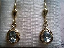 kurze Ohrhänger Gold 333 mit Aquamarin, ovale Aquamarin Ohrhänger Gold 333