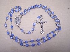 Rosary with Light Blue Plastic Beads - Mexico