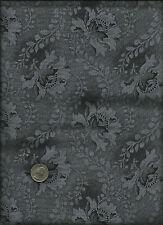 Nice Unusual Floral Leaf Geometric &  Micro Dot Print drk grey on grey Fabric
