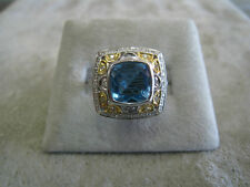 Diamond and Blue Topaz Ring WG YG 14k Almost 3 cts.!!!
