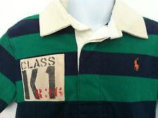 Ralph Lauren Polo Shirt Green & Navy Blue Stripe Cream Collar 3T NWT