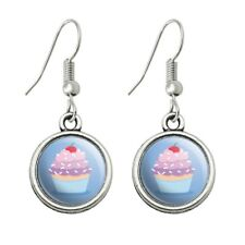 Cute Cupcake Vanilla Cherry with Sprinkles Novelty Dangling Drop Charm Earrings