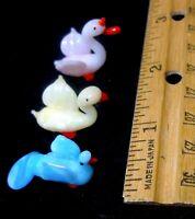 Vintage Blown Glass Animals Lot3 BirdsFigurine Miniature Art1950s