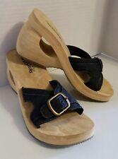 Sketchers Somethin Else Denim Blue Slip-On Wedge Heel Toe Loop Sandals Womens 9