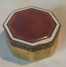 Vintage Art Deco Fine Lilac Guilloche Enamel Compact Pill Box - Octagon
