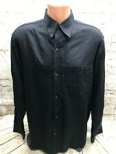Mens Brio Med Black Button Front Shirt 50% Viscose 50% Cotton Made in Italy