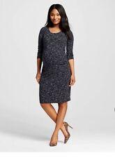 Liz Lange Maternity Ebony Black Spacedye Dress Medium SMALL NWT 3/4 Sleeve