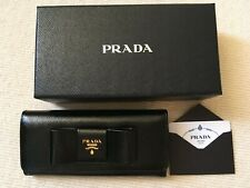 PRADA BLACK SAFFIANO VERNICE LEATHER WALLET WITH A BOW GOLD HARDWARE - NEW