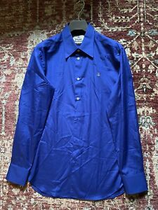 BNWOT Vivienne Westwood Orb Embroidered Shirt Size 52 Royal Blue RRP £185.00