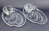 2 Vintage Federal Glass Clear Luncheon Plate and Cup Snack Sets