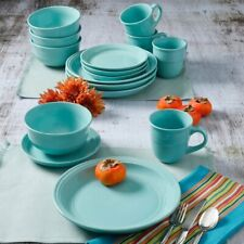 DINNERWARE SET 16-Piece Plates Bowls Mugs Dishes Stoneware Round Dinner Aqua