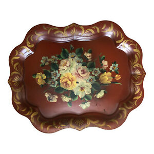 Vintage Hand Painted Floral Toleware Tray Americana 24 x 19 1/3 Maroon Red