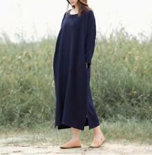 Spring New Free size Ladies Women Vintage Cotton Linen Loose Casual Long Dresses