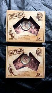 2 Australia souvenir bronze colour map battery operated clock on stand 13cmX15cm