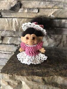 "Vintage 2 3/4"" Dam Troll Doll! New Black Fur Hair Amber Glass Eyes! Dress & Hat!"