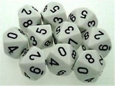 Chessex Dice Sets:Opaque White with Black - Ten Sided Die d10 Set (10) CHX 26201