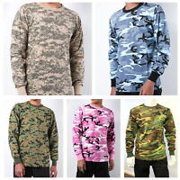 Mens Army Military Camo Long Sleeve Hunting Camp Outdoor Casual Tee T-Shirt