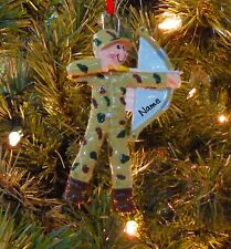 Bow Hunter In Camouflage Personalized Christmas Tree Ornaments