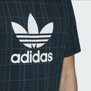 Adidas Originals Trefoil Tartan AOP Men T-Shirt Green Plaid ED7032