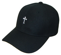 Black & White Small Christian Cross Religious Jesus Theme Baseball Cap Caps Hat