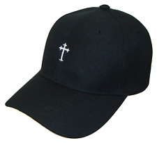Black & White Small Christian Cross Religious Jesus Theme Baseball Cap Caps Hat