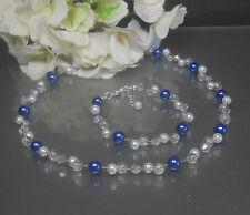 Funkelndes 2tlg. Perlen Schmuckset  blau-weiß Kette Collier  Armband  NEU