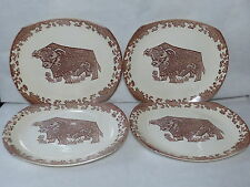 FANTASTIC SET OF FOUR RETRO BULL PLATES BEEFEATER COW PLATE ALL BROWN