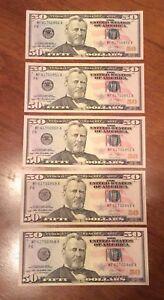 2013 $50 US (5 Consecutive Notes) $250 FACE VALUE
