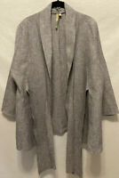 LKnew! Large Comfy USA Lagenlook Gray 100% Linen Open Front Scarf Tie Tunic Top