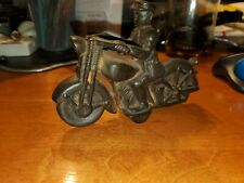 """Vintage Harley miniature motorcycle cast iron toy vintage Police 6"""" FREE SHIP US"""