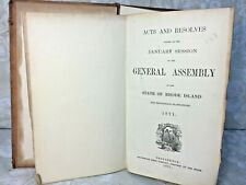State of Rhode Island Law Book January 1871 Includes Annual Quartermaster Report
