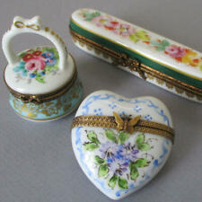 3 Vintage French Limoges Porcelain Hp Hinged Trinket Boxes Heart Basket Flowers