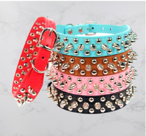 Spiked Studded Rivert Pu Leather Dog Collar Pit Bul Large Breeds Faux Metal Free