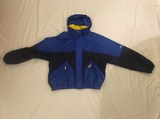 Tommy Hilfiger Men's VTG Jacket Ski Parka Blue & Yellow Stow Hooded Coat Sz XL