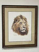 "Guy Coheleach Signed Framed Matted Print Circa 1988 ""African King"" 24""x19"""