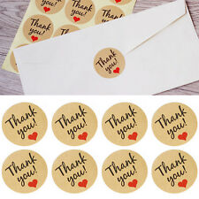 "Kraft Paper Love Heart ""Thank You"" Sticker Decorations Baking Sealing Paste JIP"