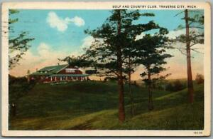 """Traverse City, Michigan Postcard """"Golf and Country Club"""" Clubhouse View - 1933"""