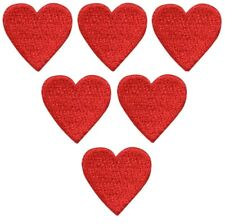 """Heart Applique Patch - Red Love Badge 3/4"""" (6-Pack, Iron on)"""