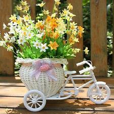Weiß Blumenkorb Dreirad Fahrrad Bike Kunststoff Rotang für Party Hochzeit