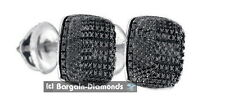 black diamond square .08 carats screwback stud 925 earrings men convex 7x7
