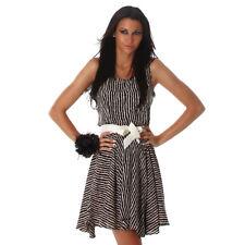 Sexy Träger Minikleid Kleid im Zebra Look Animal Gürtel Schwarz Beige Größe 40