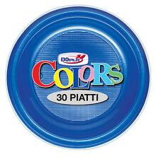 PIATTI PIANI DOPLA IN PLASTICA MONOUSO BLU CF.30 PZ.COORDINATO PARTY TINTA UNITA